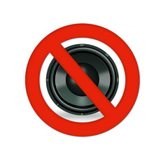 No music or sound mute sign isolated
