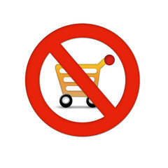 shopping cart with stop symbol- no shopping carts allowed