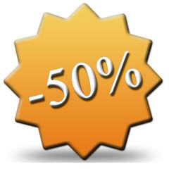 50 percent off tag