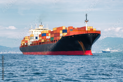 canvas print picture commercial cargo ship carrying containers