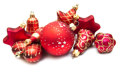 Christmas ornaments on white