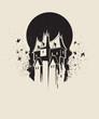 Dark gothic house against black moon - 70457942