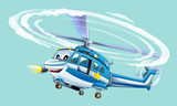 Cartoon police helicopter - illustration for the children