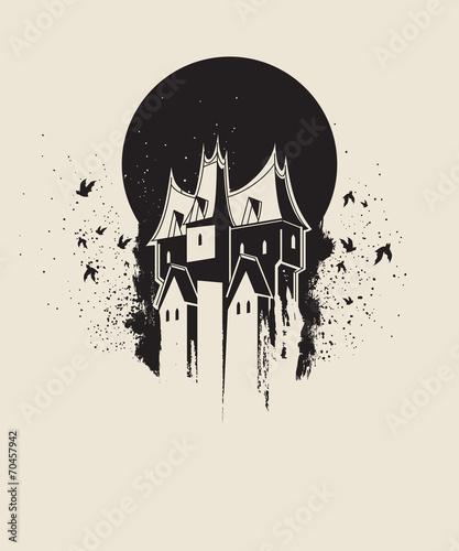 Zdjęcia na płótnie, fototapety, obrazy : Dark gothic house against black moon