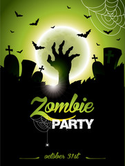 Vector illustration on a Halloween Zombie Party theme