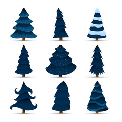 Vector Illustration of Christmas Trees