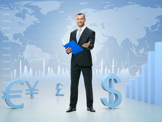 Successful businessman on stock exchange background