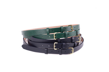 Rolled up black and green female belt.