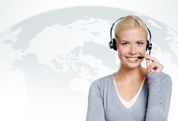 Manager of call center. Concept of technology