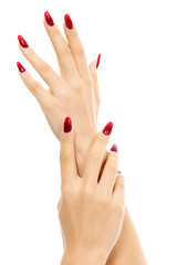 Female hands with red fingernails, white background, isolated