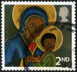 Stamp showing Black Madonna and Child from Haiti