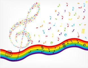 vector music notes and vawes rainbow