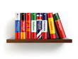 Leinwanddruck Bild - Dictionaries on bookshelf white isolated backgound.