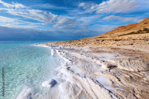 In de dag Kust View of Dead sea coastline