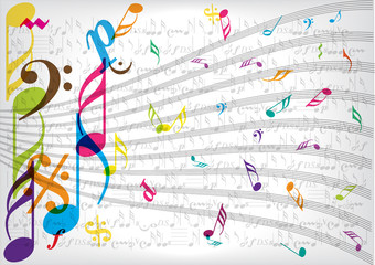 color vector music notes background