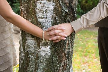 Liebespaar hält sich die Hände um einen Baum