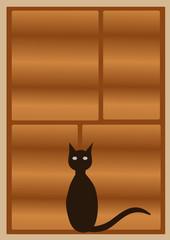 Single black cat at the window
