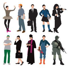 Different jobs and uniforms