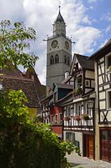 Häuser in der Luziengasse mit Pfarkirche