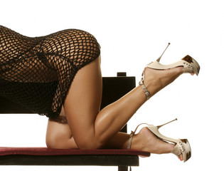 Sexy woman showing her buttocks, legs and Fancy shoes bent over