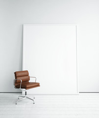 Blank picture and chair in white room