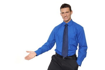 Young businessman in blue shirt shows you his open palm