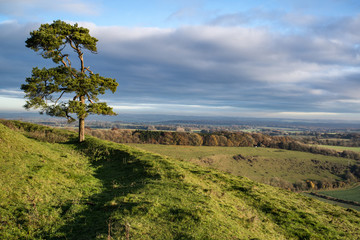 Stunning Autumn morning view over countryside landscape
