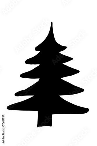 canvas print picture schwarze Tannensilhouette...