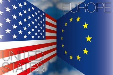 usa united states vs europe flags