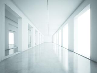 Perspectie view of white interior
