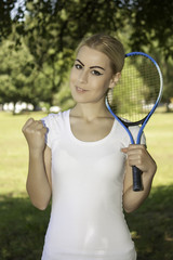 young attractive female tennis player
