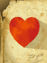 The vector illustration heart of an old paper -card_heart_red-