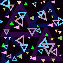 Abstract triangles seamless pattern background texture on black