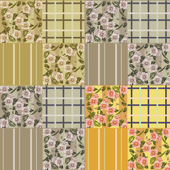 Patchwork seamless checkered floral texture pattern background