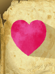 The vector illustration heart of an old paper -card_heart_pink-