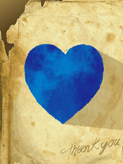 The vector illustration heart of an old paper -card_heart_blue-
