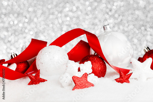 canvas print picture Christmas decorations in snow