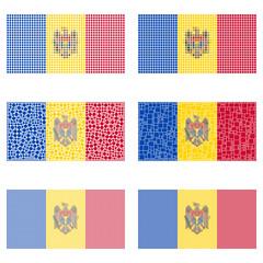 Mosaic Moldova flag set