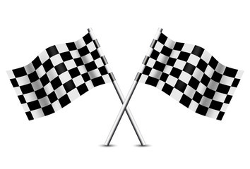 Two Crossed Checkered Flags, Vector Illustration
