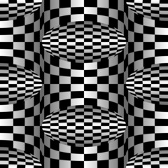 Checkered Background 3D, Vector Seamless Pattern