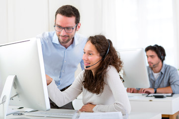 Manager training young attractive people