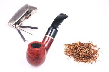 Pipe, tobacco, cigarette lighter