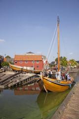 wooden ship entering the harbor of bunschoten spakenburg