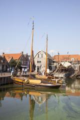 old dutch sailing vessels in the harbor of Spakenburg