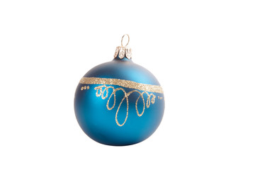 Old blue christmas decoration ball isolated on white