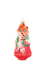 christmas fox toy on white background