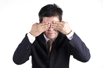 Business man hold hand cover his eyes