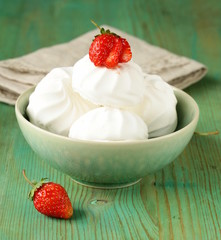 sweet white marshmallow meringue with fresh strawberries