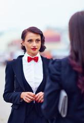 beautiful woman in black suit
