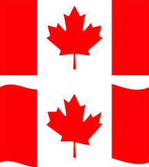 Flat and waving Canada Flag. Vector